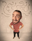 Big head person with arrows Royalty Free Stock Images