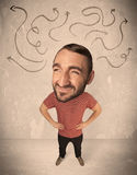Big head person with arrows Stock Photography