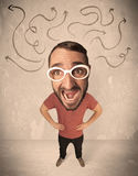 Big head person with arrows. Funny guy with big head and drawn arrows over it Stock Image