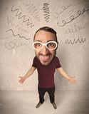 Big head person with curly lines Royalty Free Stock Photos