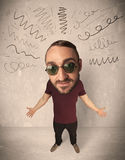 Big head person with curly lines Stock Photo