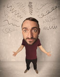 Big head person with curly lines Royalty Free Stock Photo