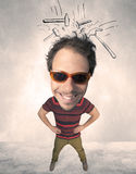 Big head person with drawn hammers Stock Images