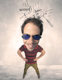 Big head person with drawn hammers Royalty Free Stock Images