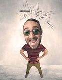 Big head person with drawn hammers Royalty Free Stock Photos