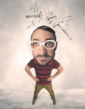 Big head person with drawn hammers Royalty Free Stock Photo