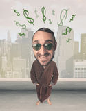 Big head person with idea dollar marks Royalty Free Stock Photo