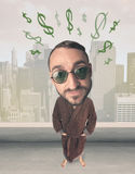 Big head person with idea dollar marks Royalty Free Stock Photography