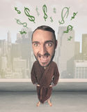 Big head person with idea dollar marks Royalty Free Stock Images
