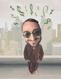 Big head person with idea dollar marks Stock Image