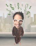 Big head person with idea dollar marks Stock Photo