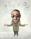 Big head person with question marks. Funny person with big head and drawn question marks over it Stock Images