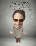 Big head person with social media marks Royalty Free Stock Photos
