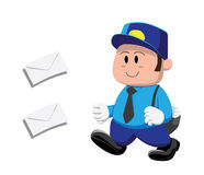 Big Head Postman Cartoon Vector Illustration Stock Images