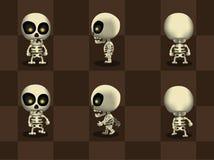 Big Head Skeleton Walking Cartoon Vector Stock Photos