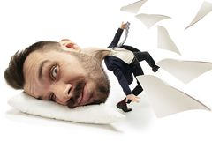 Big head on small body lying on the pillow vector illustration