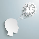 Big Head Speech Bubble Gears Clock. Infographic with white a head, gears and a clock, on the grey background Royalty Free Stock Images