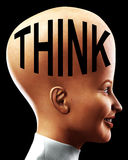 Big Head Thinking 6. An conceptual image of a happy women who is very clever, we can tell this by her big head Royalty Free Stock Photography