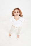 Big healthy smile. Shot from above of a young woman with bug healthy grin royalty free stock photos