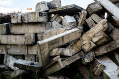 The big heap of the damaged concrete blocks Royalty Free Stock Photo