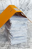 Big heap of design and project drawings Stock Photos