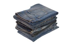Big heap of different jeans Royalty Free Stock Images