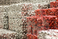 Big heap of silver red christmas balls Stock Image
