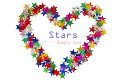 Big heart. Composed of many colored stars on white Royalty Free Stock Image