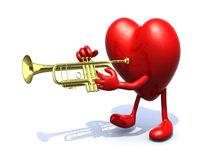 Big heart with arms, legs playng trumpet Royalty Free Stock Photo