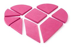 The big heart broken into geometrical pieces. Stock Image
