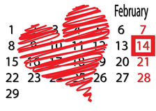 A big heart on the calendar, Valentine's Day. Valentine's Day on February fourteenth calendar highlighted square. Big red heart on the calendar above Stock Photo