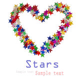 Big heart composed of many colored stars Royalty Free Stock Photos