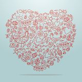 Big heart with decorative details on background Royalty Free Stock Photos