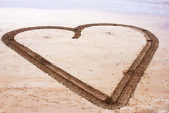 Big Heart drawing on the beach Royalty Free Stock Photos