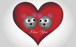 Big heart with a gold inscription and Lovers mouse. Big heart with a gold inscription Valentine's day and Lovers mouse Stock Image