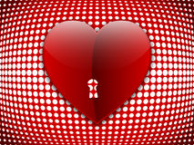 Big heart on halftone background. Illustration Stock Image