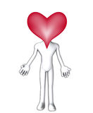 Big Heart Head. Simple figure with a heart for a head Stock Image