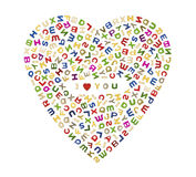 A big heart of letters. A big heart made up of many colorful letters with I Love You in the center Stock Photography