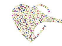 A big heart of letters. A flow of letters that build a big heart Stock Image