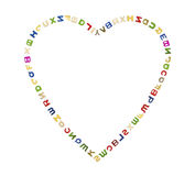 A big heart of letters. A big heart made up of many colorful letters Stock Image