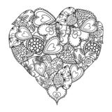 Big heart of little hearts with floral decoration for coloring book. Mothers day holidays design. Valentines day heart. Hand-drawn. Decorative elements. Black vector illustration