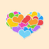 Big heart made ��up of little hearts Stock Photos