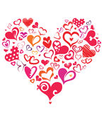 Big heart made of different hearts symbols Stock Images
