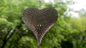 Big heart made of iron with patterns in the form of flowers hanging. On a chain in the woods stock video