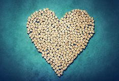 Big heart made from little wooden hearts royalty free stock photos