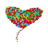 Big heart made from round shapes multicolor confetti on white background. Bright colorful small dots. Vector illustration.  stock illustration