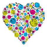 Big heart with many scribble hearts Royalty Free Stock Images