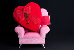Big Heart on Pink Arm Chair. Stock Photo
