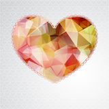 Big heart with polygonal geometric pattern Royalty Free Stock Images