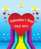 Big heart on rainbow background And the discount. On Valentine`s. Day Stock Photo